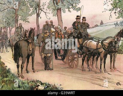 Nach der Schlacht von SEDAN, eine triumphale Bismarck lüftet seine Mütze auf das besiegt Napoleon Datum: 2. September - Stockfoto