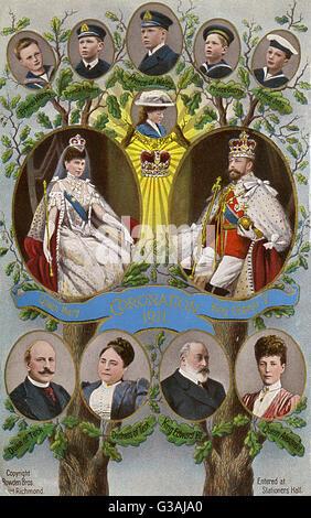 Krönung von George V. Der britische königliche Familie Baum von 1911.     Datum: 1911 - Stockfoto