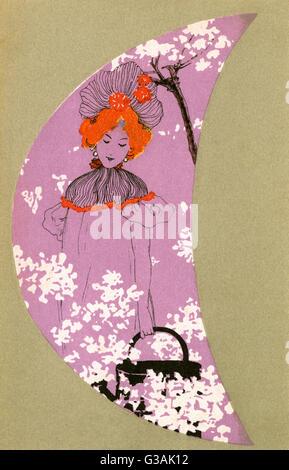 Ein hübsches Mädchen Spaziergänge inmitten der Frühling Blüte hält eine Gießkanne in dieser stilisierten Szene mit - Stockfoto