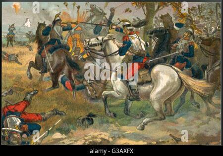 Die entscheidende Schlacht von SEDAN: ein Kavallerie-Engagement im Laufe der Kämpfe, die endet in einer Niederlage - Stockfoto