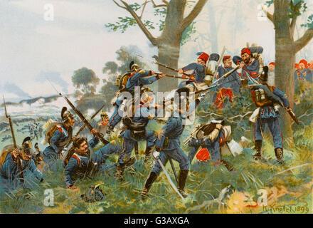 Schlacht von Wert: Bayern gegen Spahis in einer bewaldeten Umgebung Datum: 6. August 1870 - Stockfoto