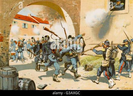 Schlacht von SEDAN - bayerischen Truppen Angriff einer französischen Position bei Bazeilles Datum: 1. September - Stockfoto