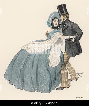 """""""Alt Wien"""", ein romantisches Paar gelingt, miteinander tanzen im alten Wien, trotz der Emcumbrance ihrer Krinoline - Stockfoto"""