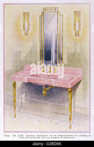 Eine Elegante Rosa Waschbecken Von Dent U0026amp; Hellyer In Einem Art Deco  Badezimmer