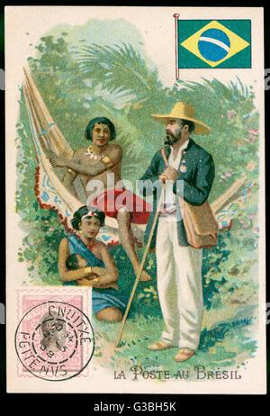 Hängematte in Brasilien.         Datum: Anfang des 20. Jahrhunderts - Stockfoto