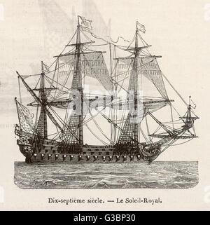 Ein 17. Jahrhundert französische Kriegsschiff Datum: 17. Jahrhundert - Stockfoto