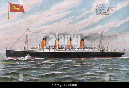 Passagierschiff der Cunard White Star Line, hielt sie das blaue Band für 21 Jahre; Sie wurde aus dem Dienst zurückgezogen - Stockfoto