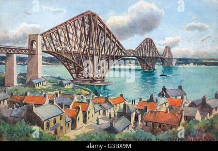 Die Forth Rail Bridge - von North Queensferry betrachtet. Die Brücke wurde zum UNESCO-Weltkulturerbe im Juli 2015. - Stockfoto