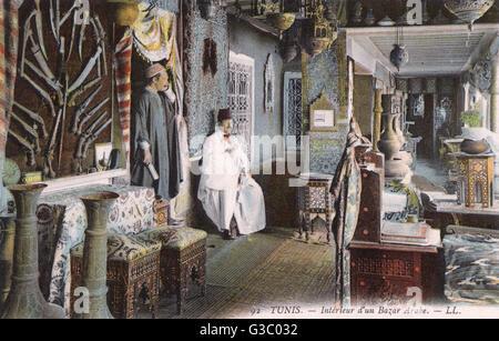 Großzügigem Interieur einer arabischen Basar, Tunis, Tunesien-Datum: ca. 1910er Jahre - Stockfoto