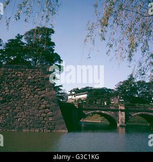 Kaiserpalast, betrachtet aus über den Graben, Tokio, Japan.      Datum: ca. 1990er Jahre - Stockfoto