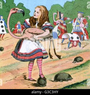 Alice im Wunderland, Alice beim Krocket Spiel, mit Flamingo (Holzhammer) und Igel (Kugeln).      Datum: Anfang des - Stockfoto
