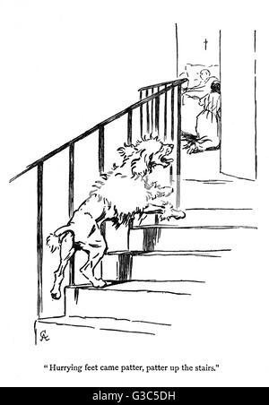 Illustration von Cecil Aldin, Moufflou von Ouida, zeigt Moufflou läuft die Treppe hinauf zu seinem kranken jungen - Stockfoto