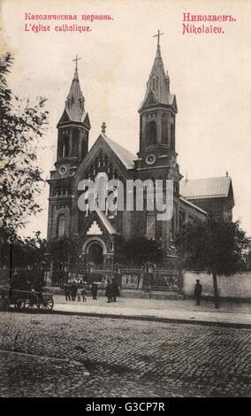 Die katholische Kirche St. Joseph - Nikolaev, Ukraine.     Datum: ca. 1910er Jahre - Stockfoto