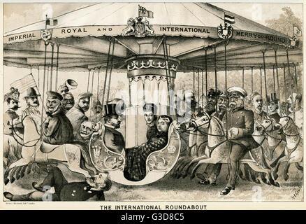 Cartoon, Satire der britischen Familie und Mitglieder des Reiches.     Datum: 1882 - Stockfoto
