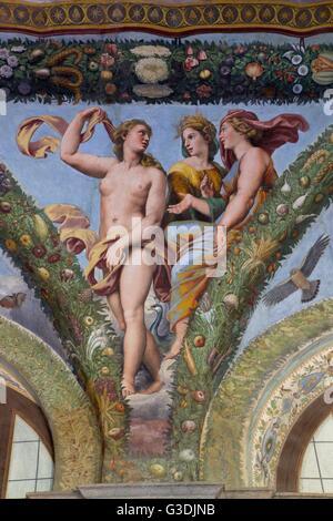 Venus, Ceres und Juno, 1517-1518, Loggia von Amor und Psyche, Villa Farnesina, Rom, Italien, Europa - Stockfoto