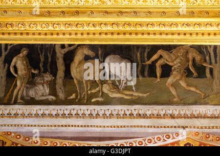 Zwölf Arbeiten des Herkules, Zimmer des Frieses von Baldassarre Peruzzi, Villa Farnesina, Rom, Italien, Europa - Stockfoto
