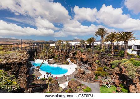 Jameos del Agua, Topview, entworfen von Architekt und Künstler César Manrique, Lanzarote, Kanaren, Kanarische Inseln, - Stockfoto