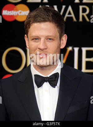 3. April 2016 - James Norton Teilnahme an The Olivier Awards 2016 am Royal Opera House Covent Garden in London, - Stockfoto
