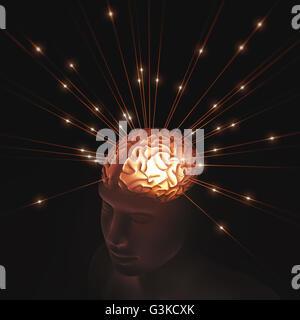 Menschenkopf durchscheinend durch Impulse in das Gehirn Energie beleuchtet. - Stockfoto