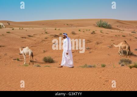 Nahen Ostens Mann Tracht vorbei an Kamelen in der Wüste, Dubai, Vereinigte Arabische Emirate - Stockfoto
