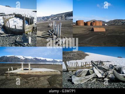 Reste des Wirtschaftszweigs der Walfang in der Antarktis - Walknochen, Wal Boote und alte Walfangstation - Stockfoto
