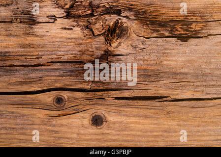 Teilweise verrottete, rissige Holz Detail. - Stockfoto