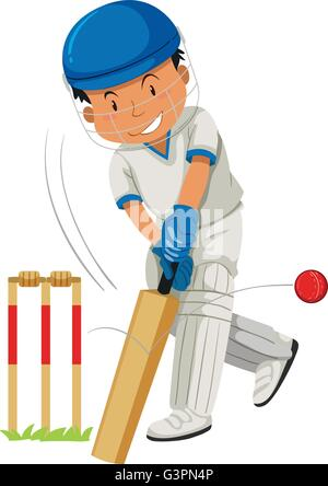 Cricketspieler schlagen Ball mit Fledermaus-illustration - Stockfoto
