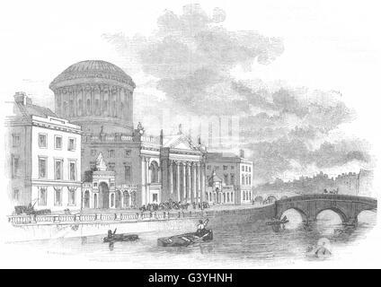 Irland: Four Courts, Dublin, antique print 1850 - Stockfoto