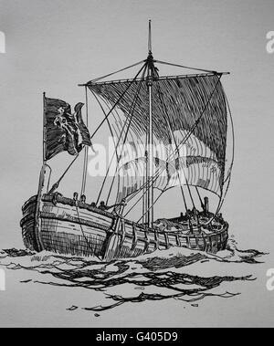 Eines mittelalterlichen Schiffes. Kupferstich, 19. Jahrhundert. - Stockfoto