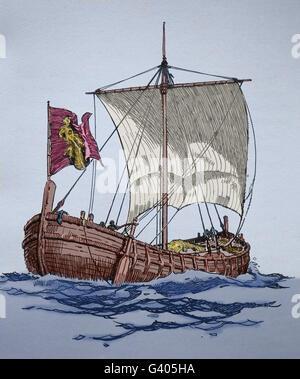 Eines mittelalterlichen Schiffes. Kupferstich, 19. Jahrhundert. Farbe. - Stockfoto