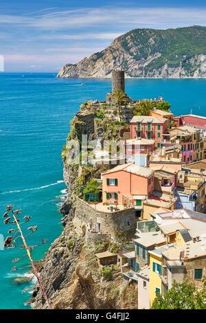 Vernazza, Nationalpark Cinque Terre, Ligurien, Italien, UNESCO - Stockfoto