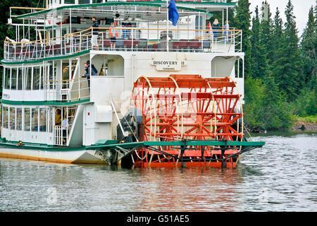 Paddel Rad Riverboat Discovery 2 am Chena River in Fairbanks, AK. - Stockfoto