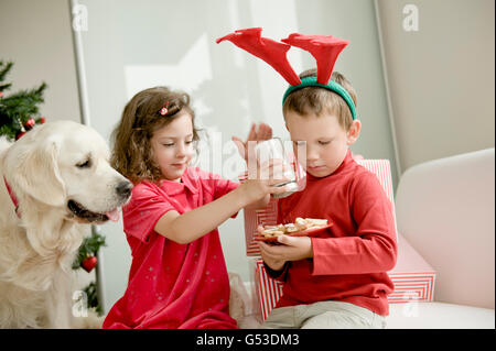 Ein Mädchen und einen jungen Elch Geweih aufsetzen Zucker Weihnachtsplätzchen, ein Golden Retriever sitzt neben - Stockfoto