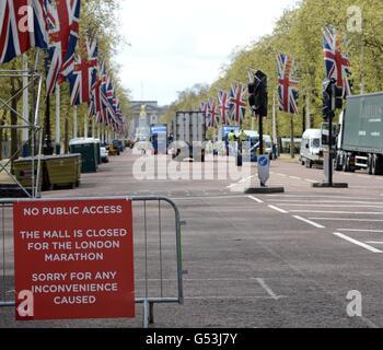 Virgin London-Marathon-Vorbereitung - Stockfoto