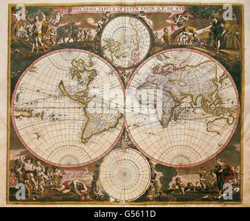 Nova Orbis Tabula in Lucem Edita (ca. 1665). Weltkarte von Frederick de Wit (1630-1706), niederländischer Mathematiker - Stockfoto