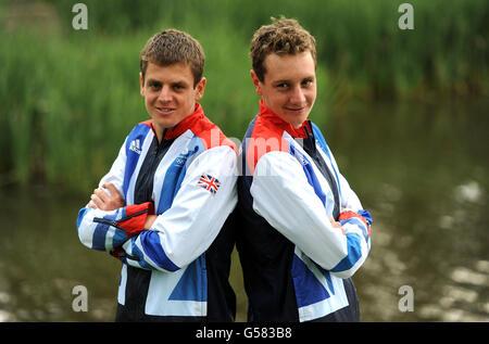 Olympische Spiele - Olympiade 2012 in London - Team GB Kitting heraus - Triathlon - Loughborough Universität - Stockfoto
