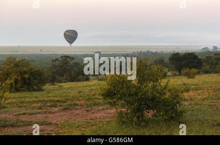 Am frühen Morgen bei Sonnenaufgang ist ein Heißluftballon über die Savanne in der Masai Mara, Kenia, Afrika gleiten. - Stockfoto