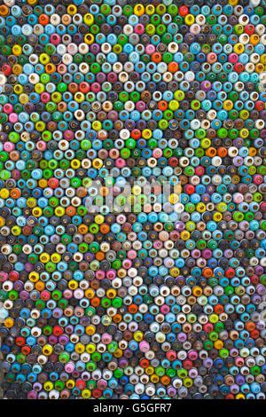Sprühfarben-Muster in der Tür, Zypern - Stockfoto