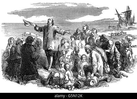 Nonkonformist Puritaner Landung in Amerika nach 1660 nach Charles II nach England zurück zu Monarch verbannt werden... - Stockfoto