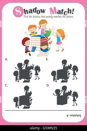 Pädagogische Schatten Matching Game mit niedlichen kleinen Cartoon ...