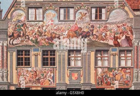 Geographie/Reisen, Deutschland, Augsburg, Gebäude, Weberhaus, Außenansicht, Detail, Osten Fassade, Battle of Lechfeld - Stockfoto