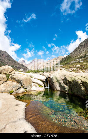 Pool mit kleinem Wasserfall in den Bergen, Fluss Golo, Natur Naturpark von Korsika, Parc Naturel Régional de Corse, - Stockfoto