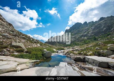 Schwimmbad in die Berge, Fluss Golo, Natur Naturpark von Korsika, Parc Naturel Régional de Corse, Korsika, Frankreich - Stockfoto