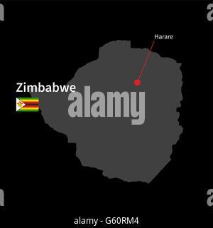 Detaillierte Karte von Simbabwe und Hauptstadt Harare mit Flagge auf schwarzem Hintergrund - Stockfoto