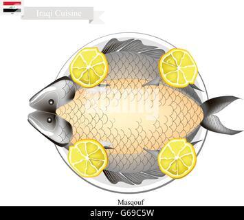 Irakische Küche, Illustration Von Masqouf Oder Traditionellen Karpfen Am  Lagerfeuer Gegrillt. Ein Nationalgericht
