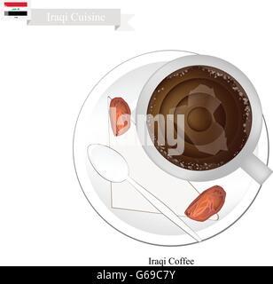 ... Irakische Küche, Irakische Kaffee Oder Kaffee Gebraut Aus Dunkle  Röstung Kaffeebohnen Mit Kardamom Gewürzt.