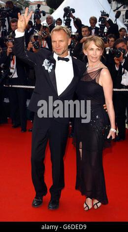 Sting und seine Frau Trudie Styler kommen zur Premiere des Abschlussfilms der 56. Filmfestspiele von Cannes, Charlie: Das Leben und die Kunst von Charles Chaplin, im Palais des Festival, Cannes, Frankreich.