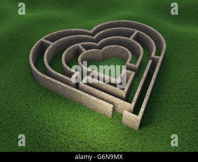 Herzförmige Labyrinth - Liebe und Beziehung Konzept 3D Illustration - Stockfoto