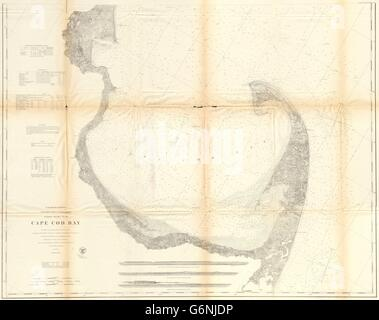 CAPE COD BAY Diagramm: Plymouth. Provincetown. Massachusetts. USCGS, 1870 alte Karte - Stockfoto