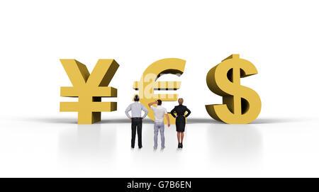 """Geschäftsleuten steht in der Nähe von """"Ja"""" in Form Geldsymbol - Stockfoto"""